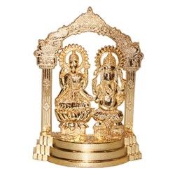 Picture of Metal Gold Plated Ganesha Laxmiji 4 Inch X 5.5 Inch